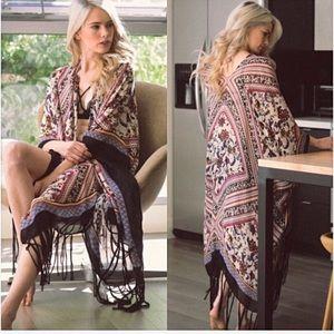 Bohemian Fringe Kimono Wrap Coverup With A…